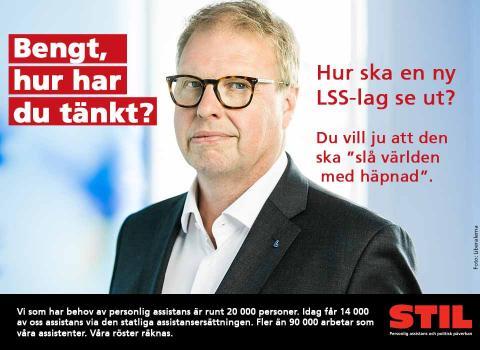 Bild på Bengt Eliasson med texten Bengt, hur har du tänkt? Hur ska en ny LSS-lag se ut? Du vill ju att den ska